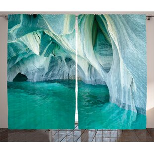 Cuccia Marble Caves at European Mediterranean Lake Geologic Eroded Art Photo Graphic Print & Text Semi-Sheer Rod Pocket Curtain Panels (Set of 2) by Latitude Run