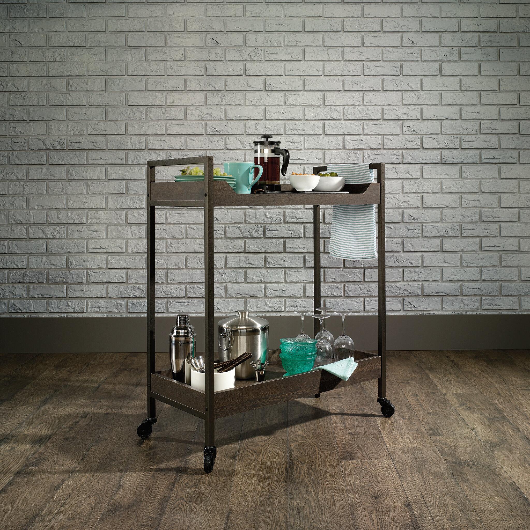 Modern Farmhouse Industrial Bar Cart In Grey Bar Serving Carts Home Kitchen