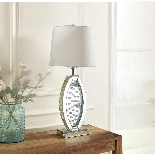 Brushed Steel Table Lamp Pair Living Bed Room 28 inch Shade incl Set of 2 lamps