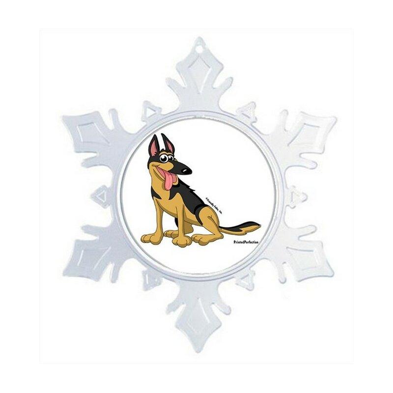 The Holiday Aisle Personalized Friendly Folks Cartoon Snowflake German Shepherd Christmas Holiday Shaped Ornament Wayfair