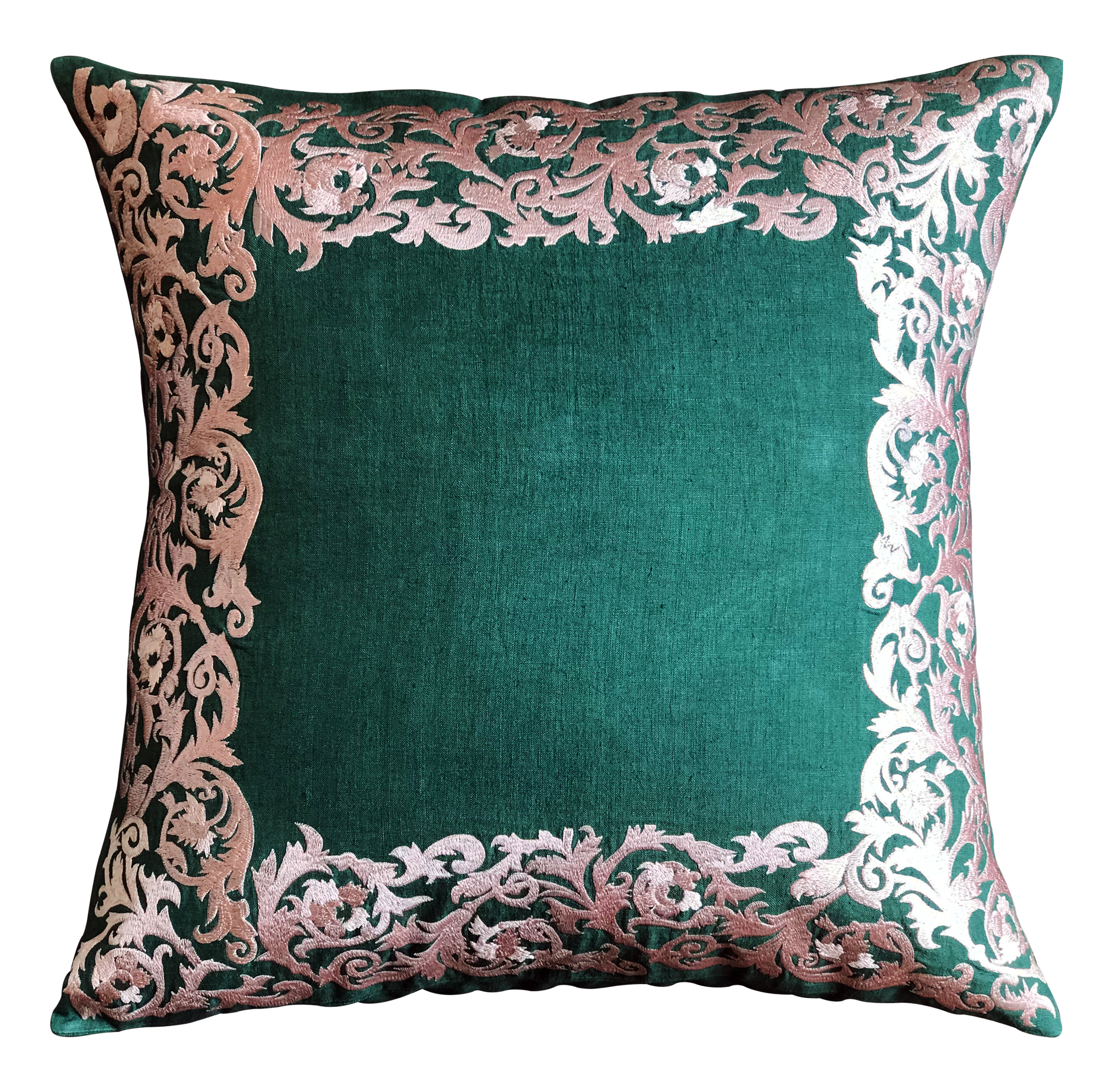 House Of Hampton Racette Embroidered Linen Floral Throw Pillow Cover Wayfair