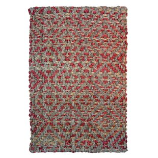 Find One-of-a-Kind Calliope Diamond Hand-Woven Gray/Red Indoor/Outdoor Area Rug Great deals
