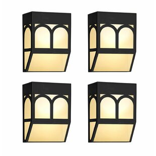 Winston Porter Forsman Color Changing Night Light Outdoor Wall Lanterns (Set of 4)
