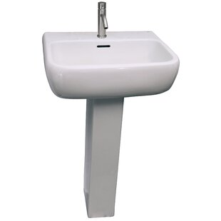 Barclay Metropolitan 520 Vitreous China Rectangular Pedestal Bathroom Sink with Overflow