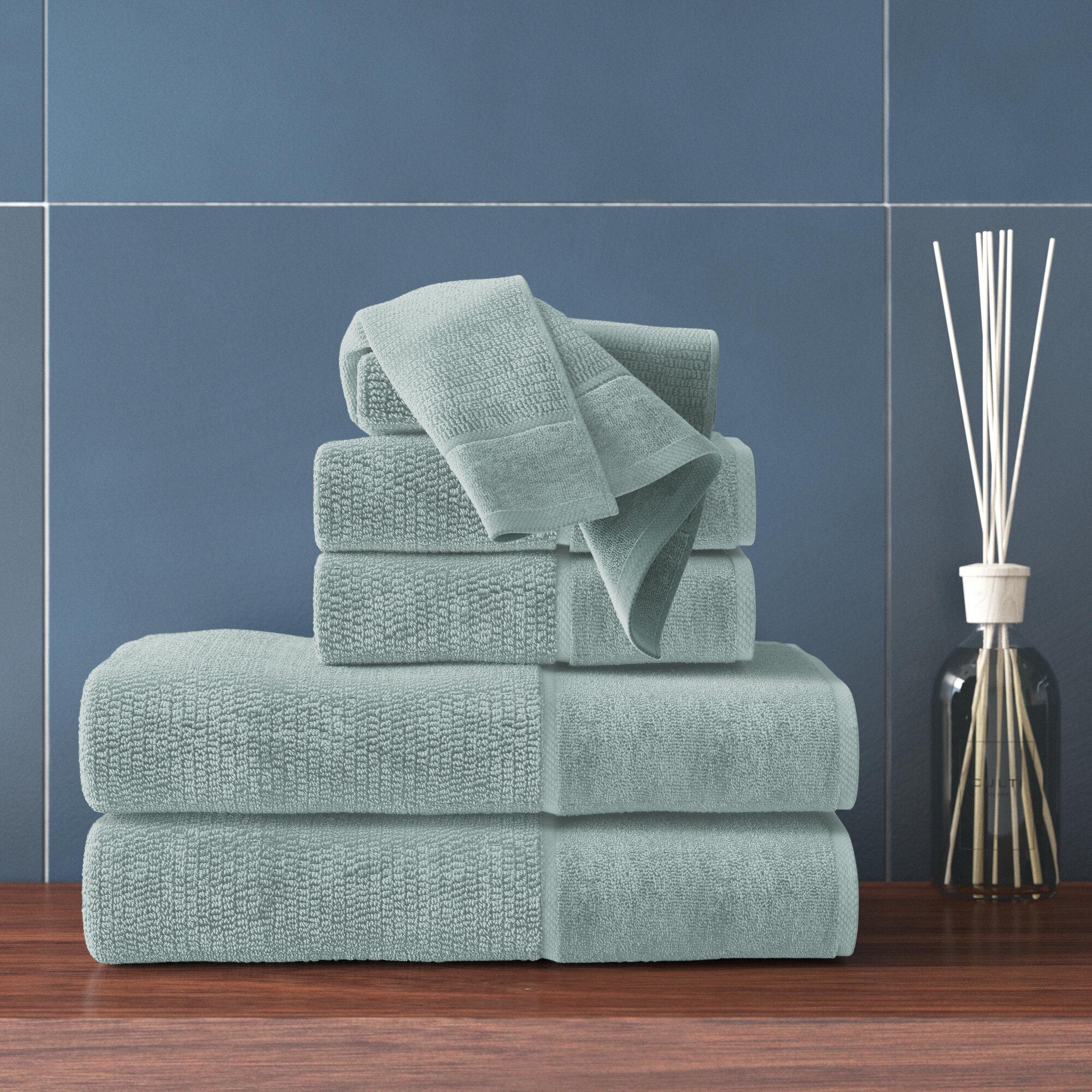 Textured Bath Towel Set 6 pc White Borders Plush Combed Cotton Towels 3 Colors