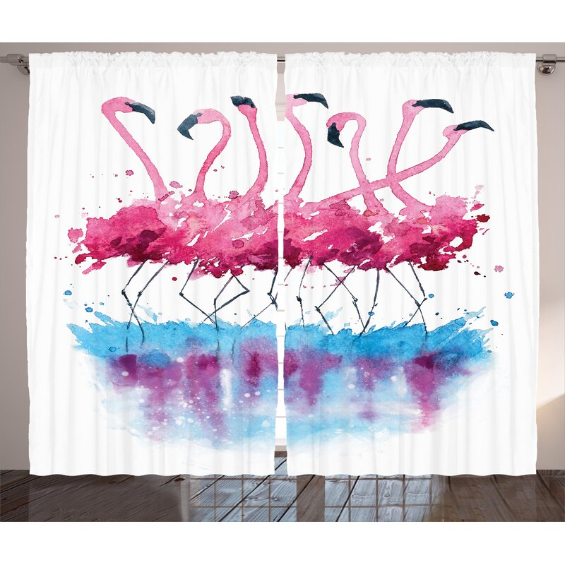 c14ca3f8d1a5 Crowther Animal Flamingos Love Birds Feather Romance Brushstroke Splash  Watercolor Effect Graphic Print & Text Semi-Sheer Rod Pocket Curtain Panels