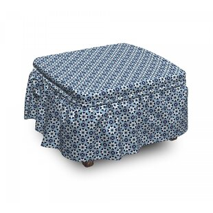 Moroccan Folklore Motifs Ottoman Slipcover (Set Of 2) By East Urban Home