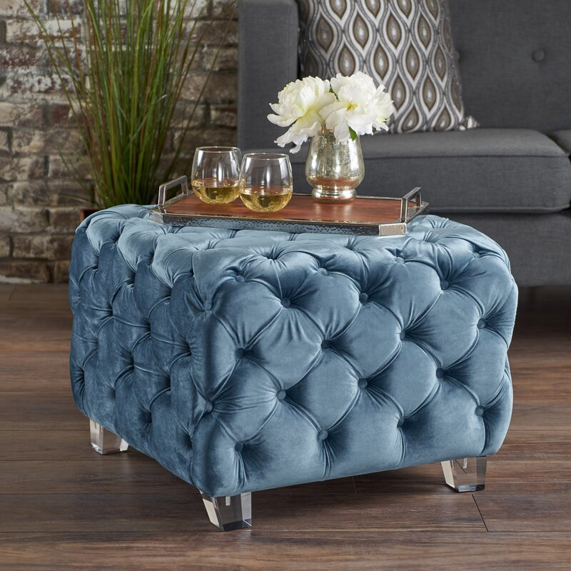 House Of Hampton Finchley 24 5 Tufted Square Cocktail Ottoman Reviews Wayfair