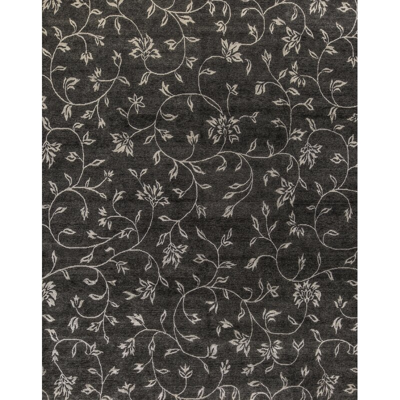 Bokara Rug Co Inc Himalayan Floral Hand Knotted Black Area Rug Wayfair