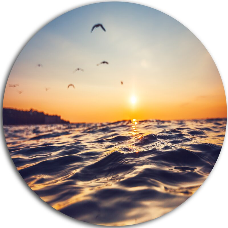 Designart Orange Tinged Sea Waters At Sunrise Photographic Print On Metal Wayfair