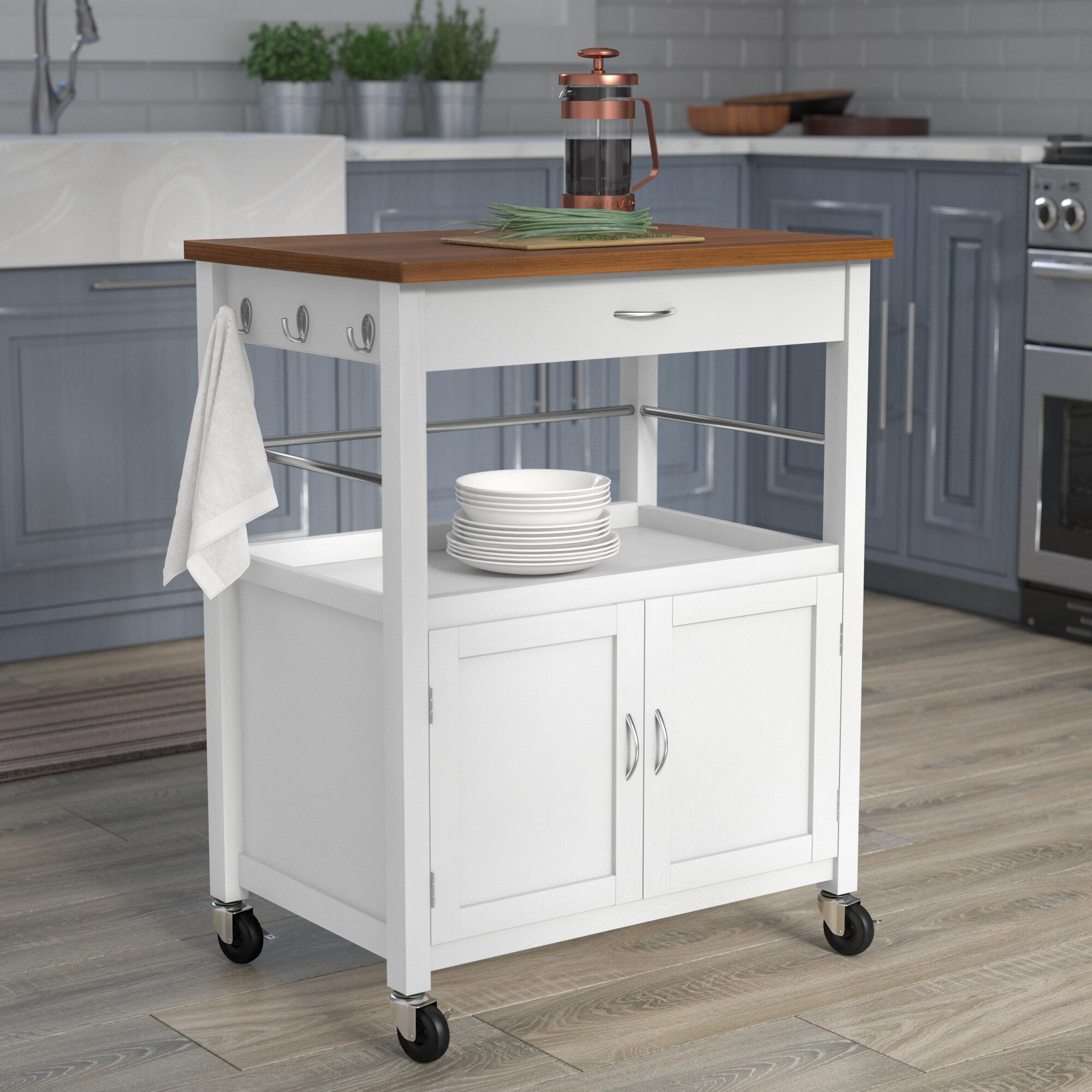 Andover mills kibler kitchen island cart with natural butcher block bamboo top reviews wayfair