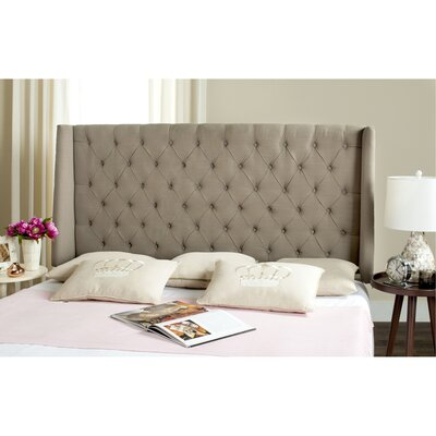 Center Full Upholstered Wingback Headboard Size: Full, Upholstery: Cotton Taupe