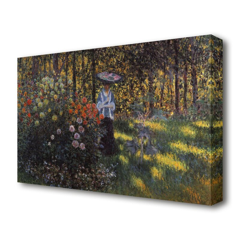 East Urban Home Woman With A Parasol In The Garden Of Argenteuil By Claude Monet Painting Print On Wrapped Canvas Wayfair Co Uk
