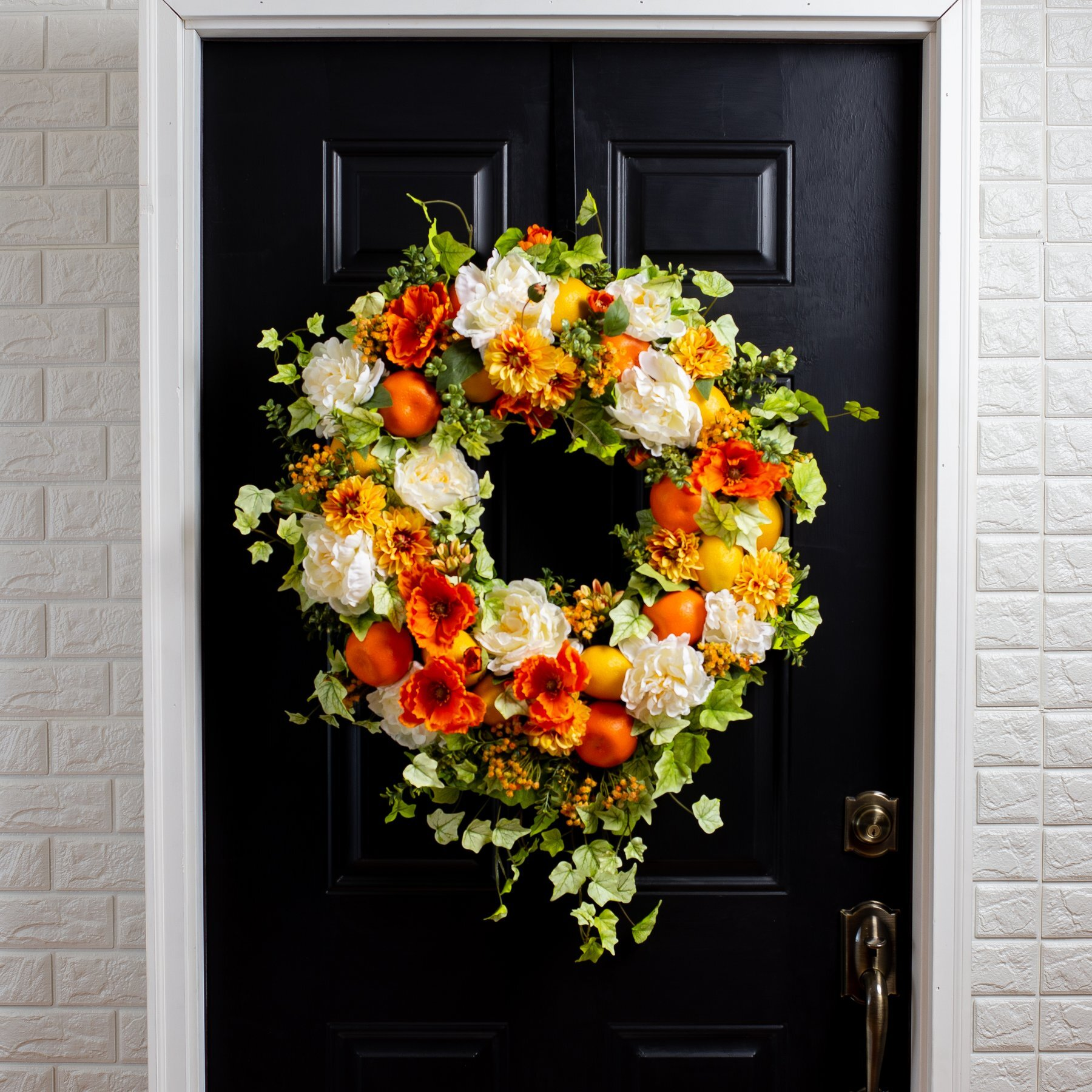Faux Orange Peony Summer Wreath