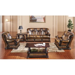 Renwick Distressed 3 Piece Leather Sleeper Living Room Set by Canora Grey