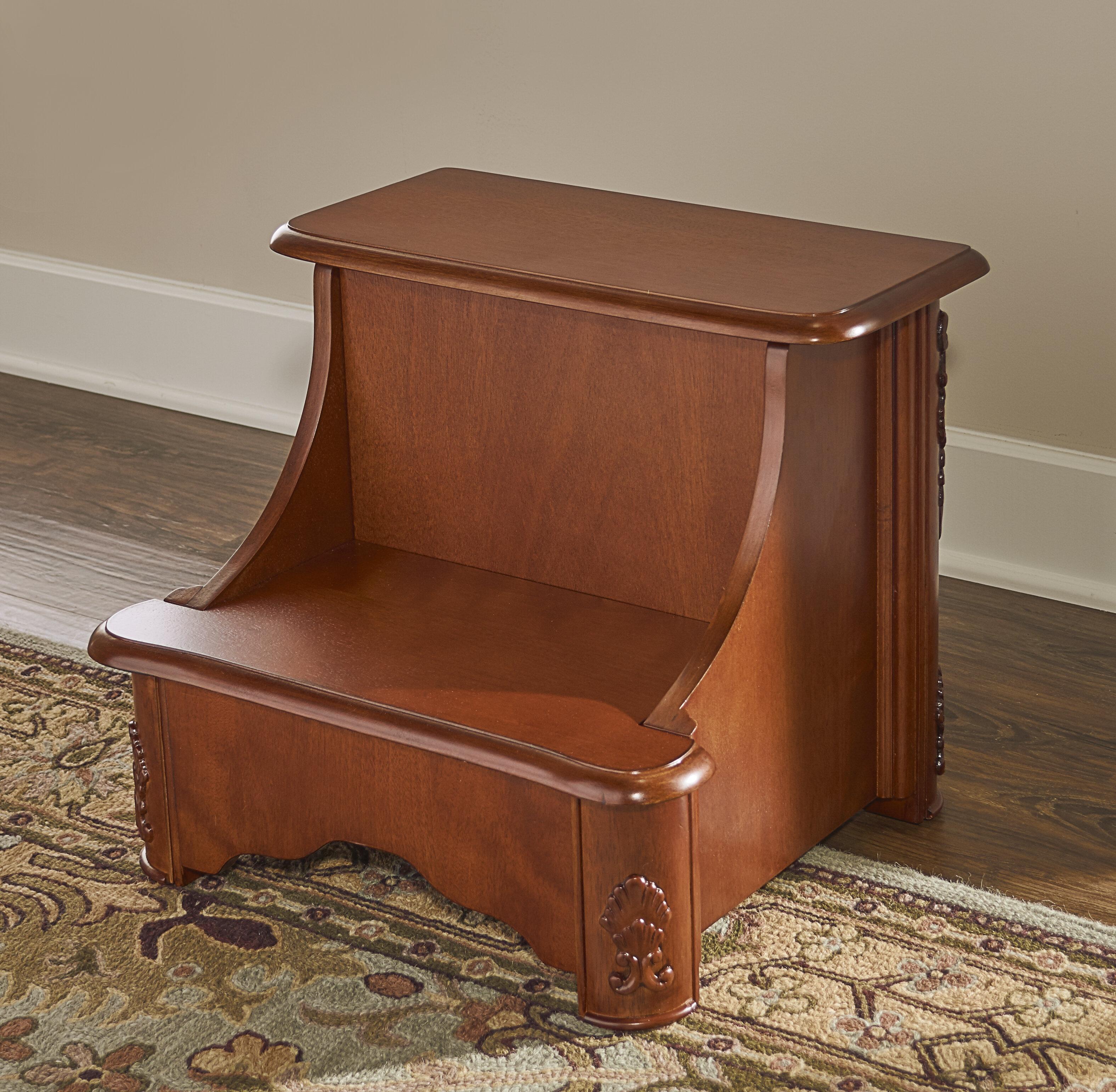 Powell Woodbury Mahogany 2 Step Manufactured Wood Bed Stool With 200 Lb Load Capacity Reviews Wayfair