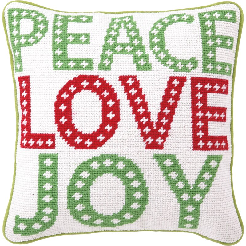 The Holiday Aisle Peace Love Joy Wool Throw Pillow
