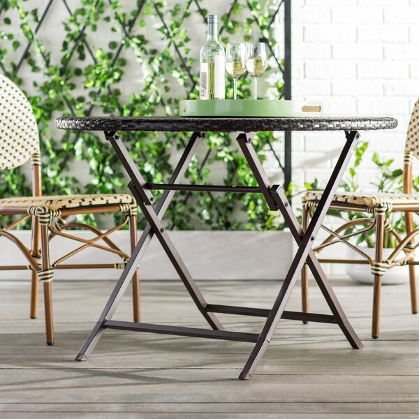 Mercury Row Belton Outdoor Wicker Dining Table & Reviews | Wayfair on kitchen cabinets outdoor, kitchen wood outdoor, grill tops outdoor,