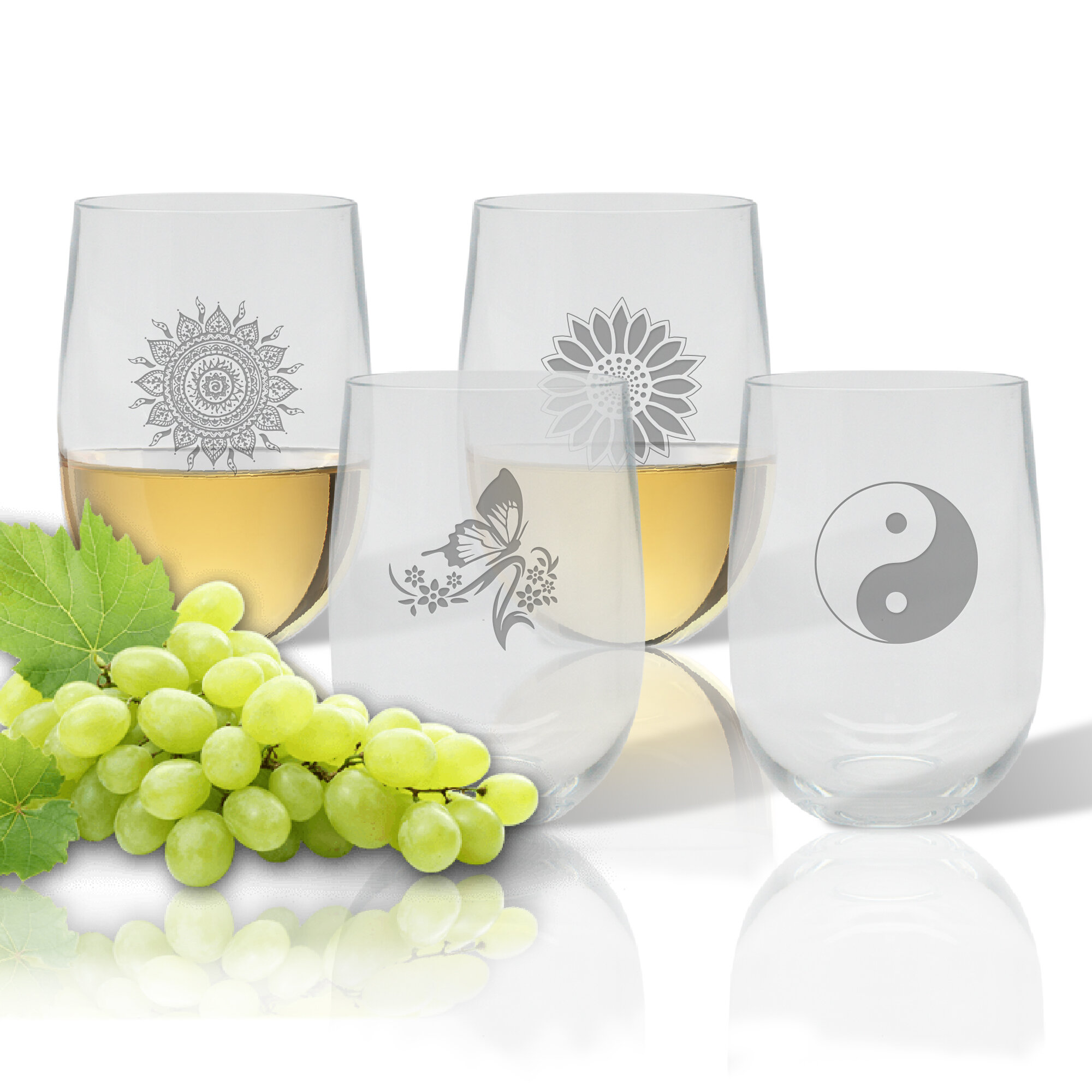 Carved Solutions Solstice 4 Piece 14 Oz Plastic Stemless Wine Glass Set Wayfair