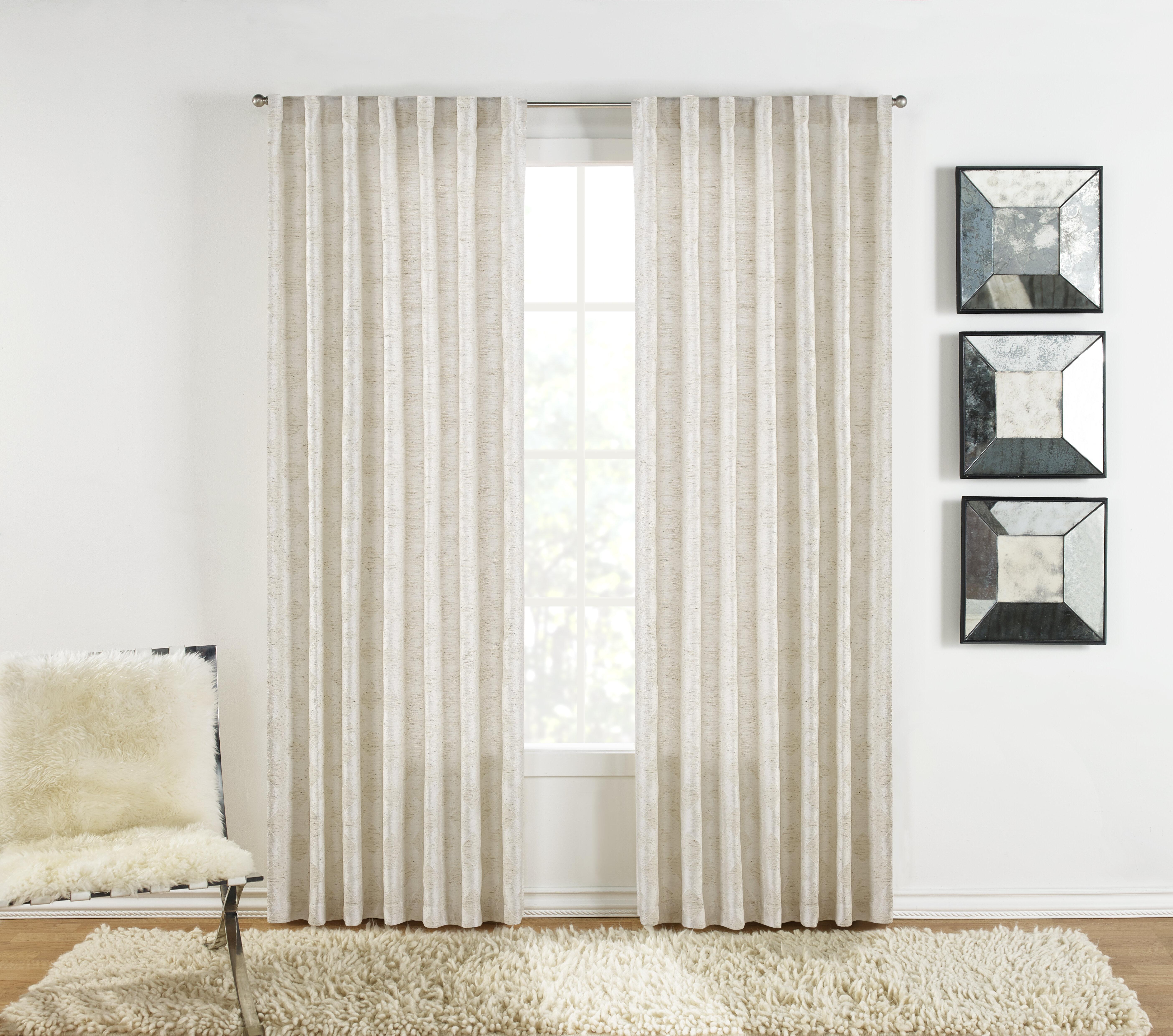 Sure Fit Warsa Geometric Room Darkening Rod Pocket Curtain Panels Wayfair