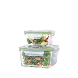 GoGreen Glassworks Square Oven Safe 15 Oz. Food Storage Container
