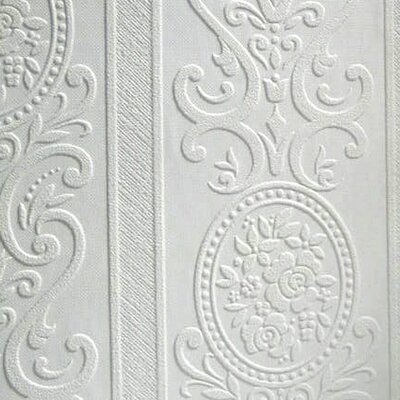 """Anaglypta Paintable Louisa 33' x 20.5"""" Damask 3D Embossed Wallpaper Brewster Home Fashions"""