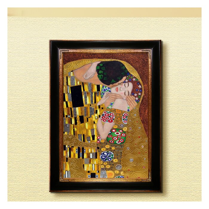 La Pastiche \'The Kiss Metallic Embellished\' by Gustav Klimt Framed ...