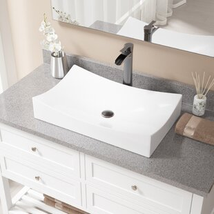 Best Choices Vitreous China Rectangular Vessel Bathroom Sink with Faucet By MR Direct
