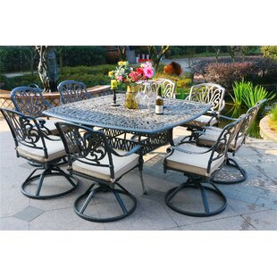 Barbee Aluminum 9 Piece Sunbrella Dining Set with Sunbrella Cushions by Canora Grey