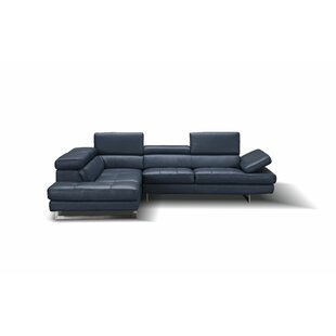 Modern & Contemporary Navy Blue Leather Sectional   AllModern