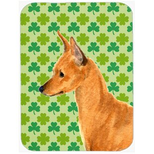 Shamrock Lucky Irish Min Pin St. Patrick's Day Portrait Glass Cutting Board By Caroline's Treasures