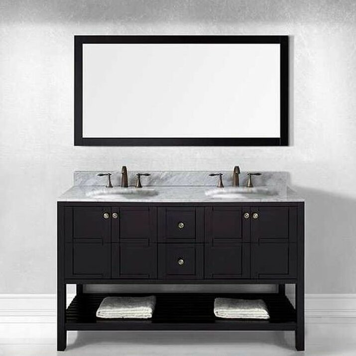 double vanity sink 60 inches. Bob 60  Double Bathroom Vanity Set with White Top and Mirror Vanities You ll Love Wayfair