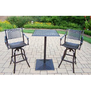 Oakland Living Rose 3 Piece Bar Height Dining Set