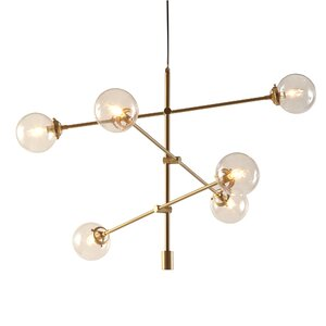 Bensley Antique Gold 6-Light Oversized Bulbs Sputnik Chandelier