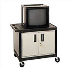 High Open Shelf Endura Video Table AV Cart with Locking Cabinet by Luxor