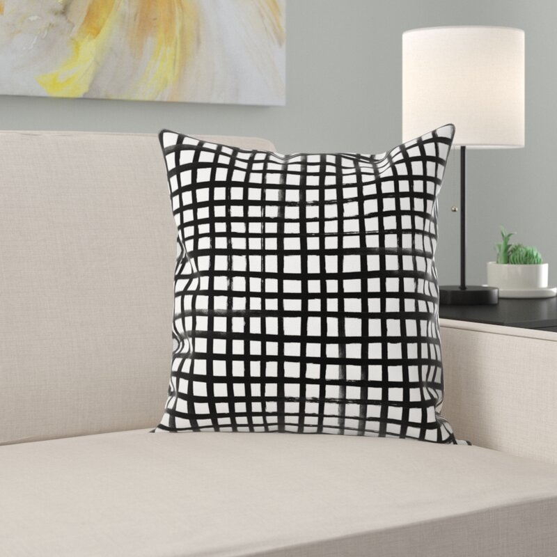 East Urban Home Hand Painted Grid Throw Pillow Wayfair