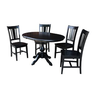 Damien 5 Piece Extendable Solid Wood Dining Set