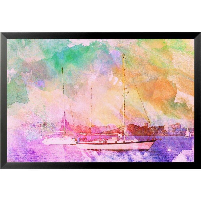 Boats II by Brandi Fitzgerald - Print - Rainbow Tie-Dye Wall Decorations