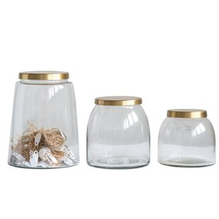 Round Glass 3 Piece Storage Jar Set