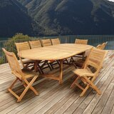 Treiber International Home Outdoor 11 Piece Teak Dining Set