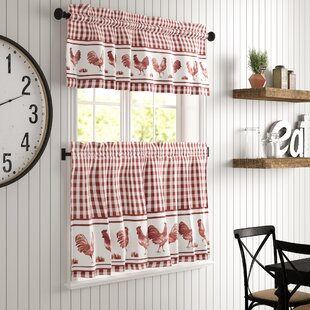 Elem Barnyard Rooster Window Kitchen Curtain Set