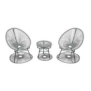 Ehrlich 3 Piece Rattan Conversation Set with Cushions