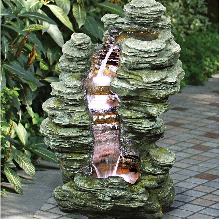 Natural Stone Cascading Garden Fountain