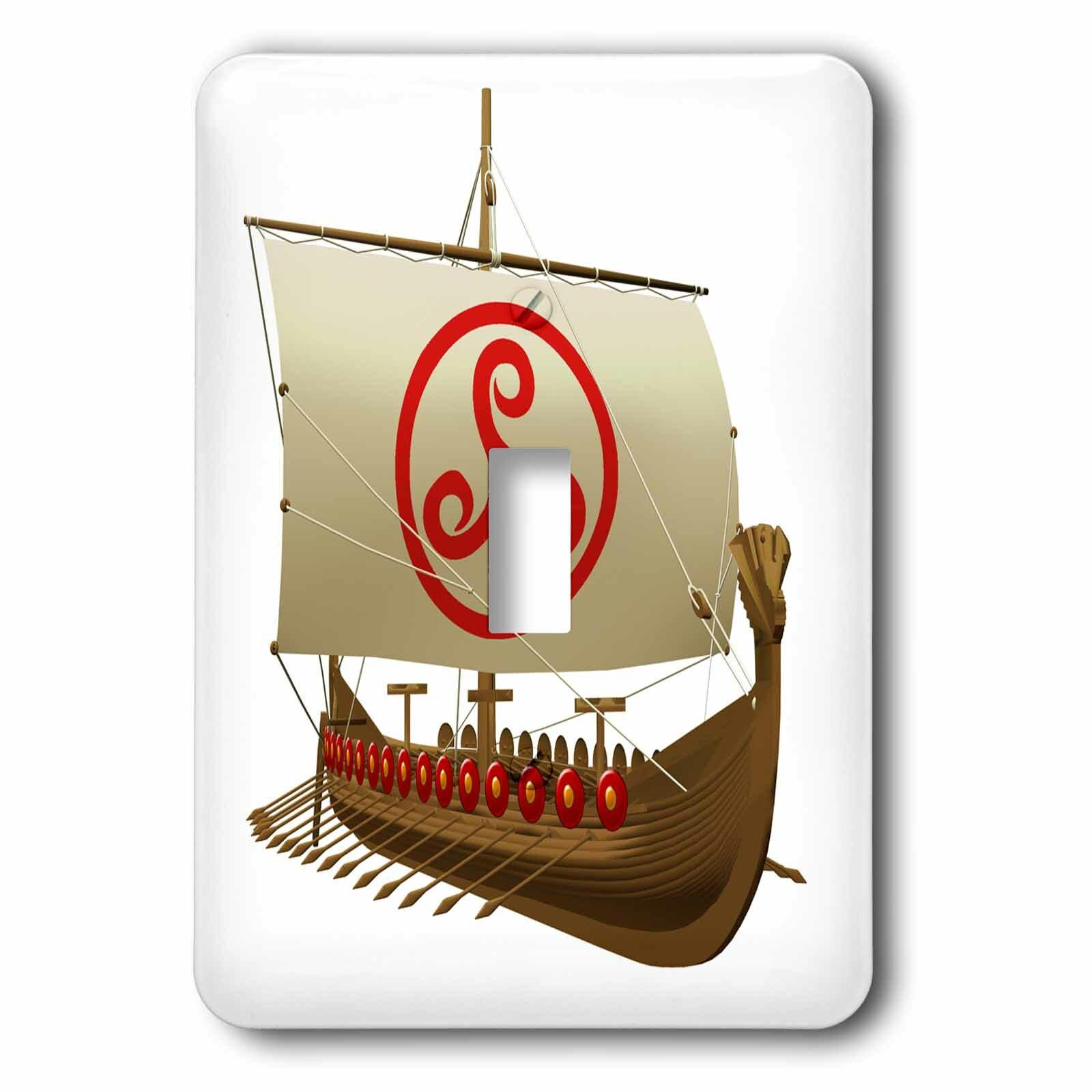 3drose Viking Ship With Sail 1 Gang Toggle Light Switch Wall Plate Wayfair Ca