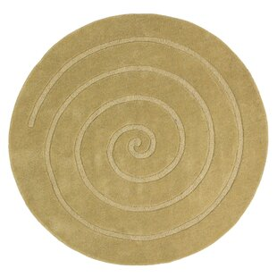Stotts Spiral Hand-Knotted Gold Area Rug by Red Barrel Studio