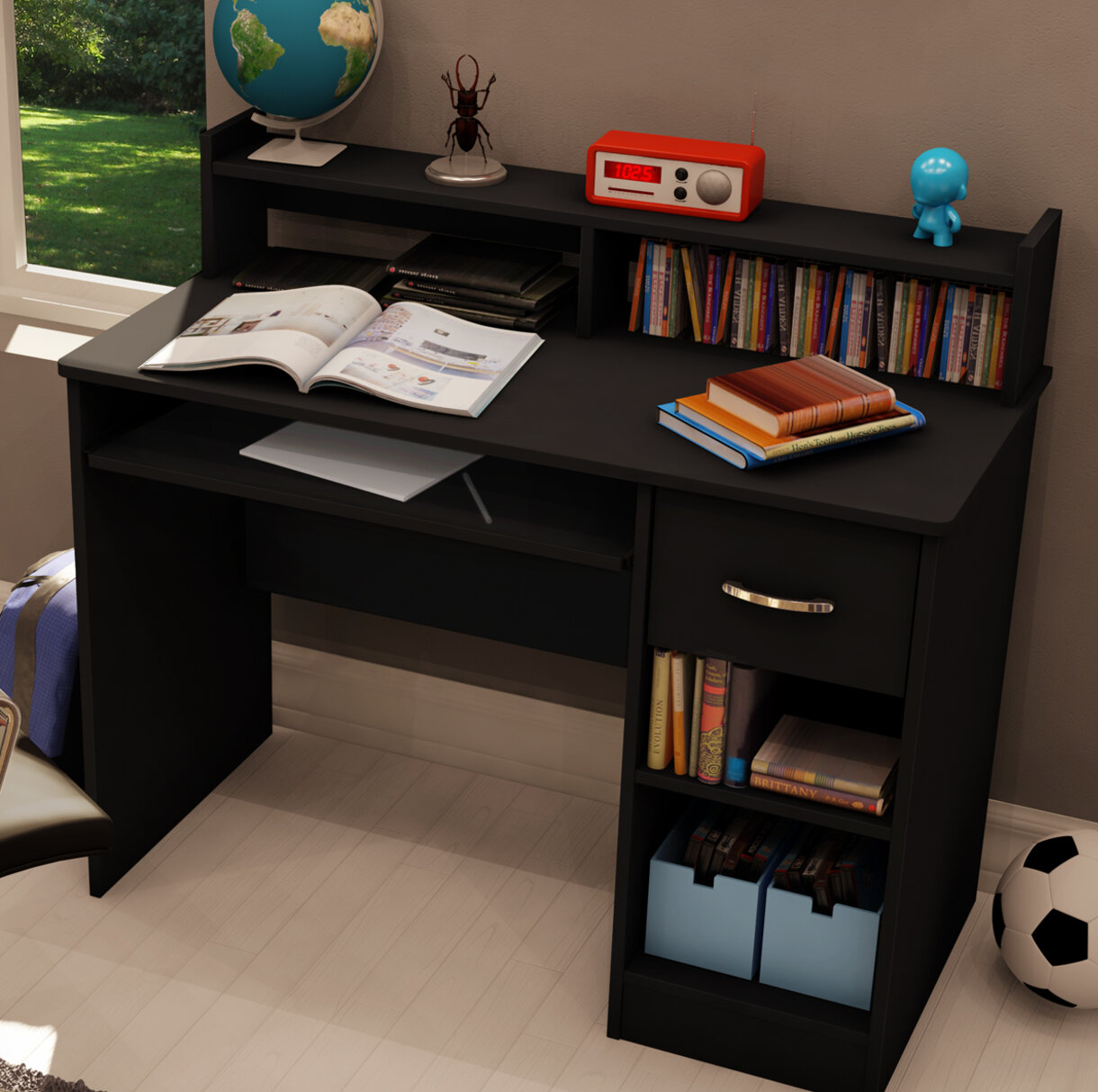 South Shore Axess Computer Desk with Hutch & Reviews   Wayfair