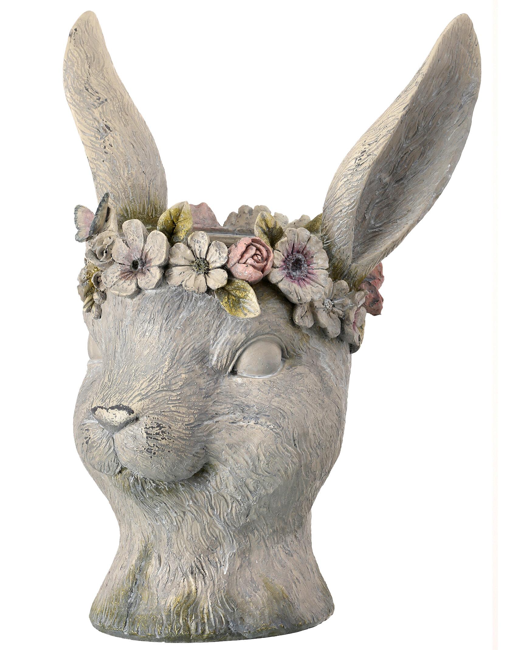 Grey Rabbit Head Statue Planter Flower Herb Pot Stone Garden Home Decor 26cm