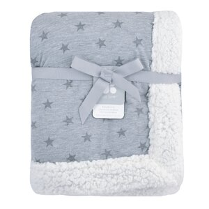 Just Born® Plush Blanket in Navy and Heather Grey