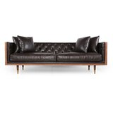 Leather Sofa With Wood Trim | Wayfair