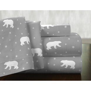 Polar Bear 100% Cotton Flannel Sheet Set